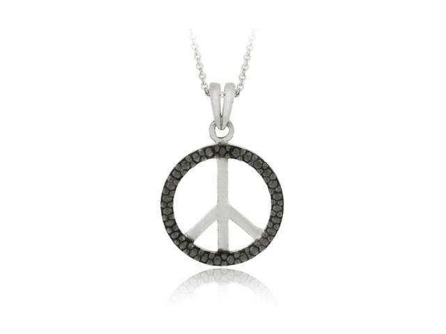 Sterling Silver Black Diamond Accent Peace Sign Pendant