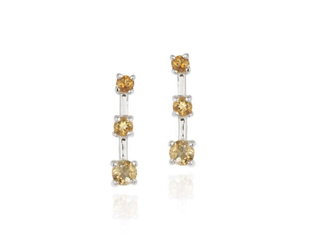 Sterling Silver Genuine Citrine Past Present Future Earrings