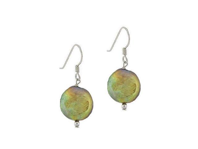 Sterling Silver .925 Genuine Freshwater Cultured Round Iridescent Green Gold Coi