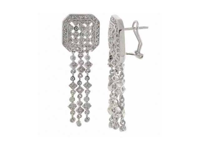 Sterling Silver Simulated Diamond CZ three strand Chandelier Earrings