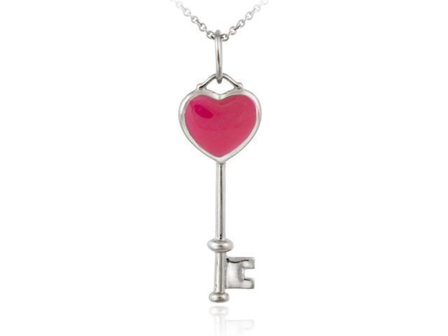 Sterling Silver Designer Inspired Pink Enamel Key Pendant