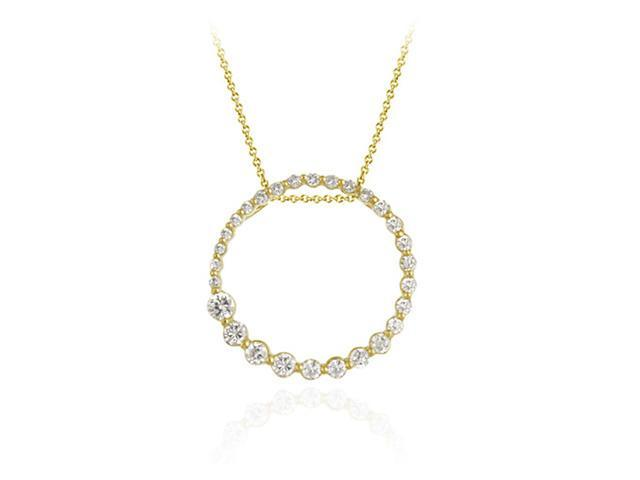 18K Gold over Sterling Silver Open Circle Journey CZ Pendant