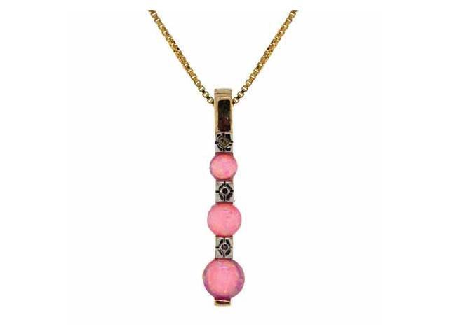 18K Gold over Sterling Silver Created Pink Opal Past Present and Future Pendant