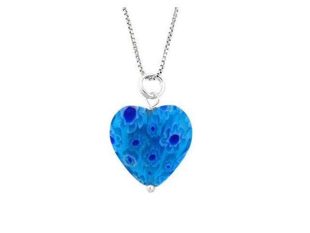 Murano Glass Sterling Silver Bead Dark Light Blue Millefiori Flower Heart Pendan