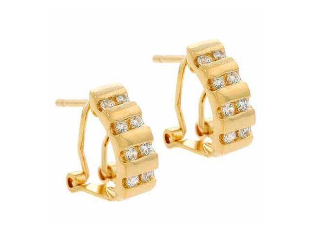 18K Gold over Sterling Silver CZ Half Hoop Earrings