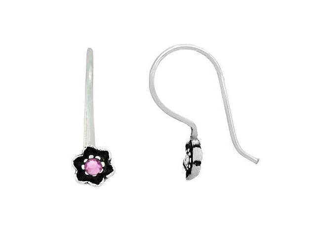 Sterling Silver .925 Pink Rhinestone Mini Flower Dangle Hook Earrings