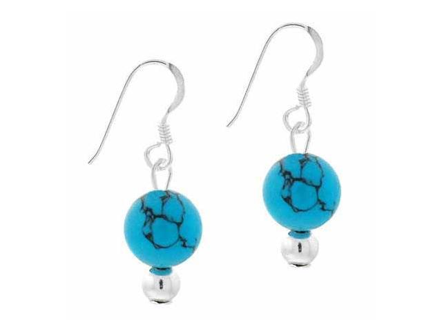 Sterling Silver 6mm Reconstituted Turquoise Stone Bead Beaded Dangle Hook Earrin
