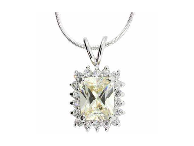 Sterling Silver Yellow and Simulated Diamond CZ Square Pendant