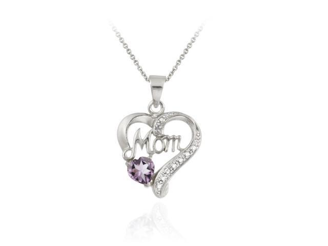 Sterling Silver Amethyst & Diamond Accent Mom Heart Pendant