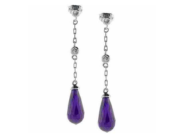 Sterling Silver Simulated Diamond and Simulated Amethyst cz Teardrop  Earrings