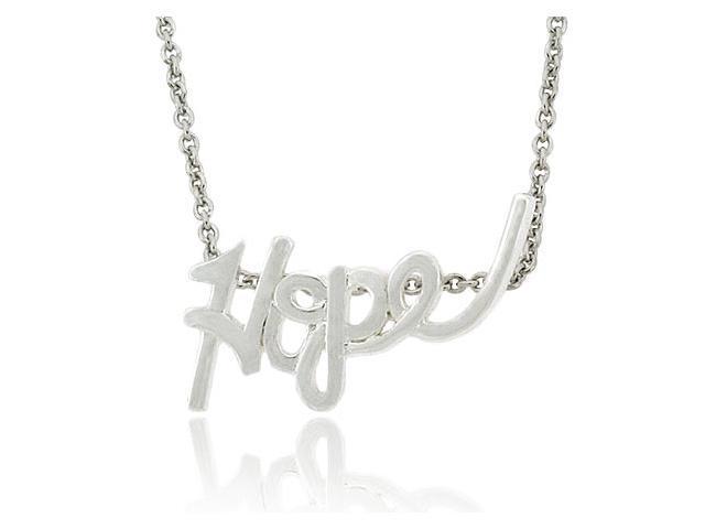 Sterling Silver .925 Word 'Hope' Cursive Letter Pendant Slide