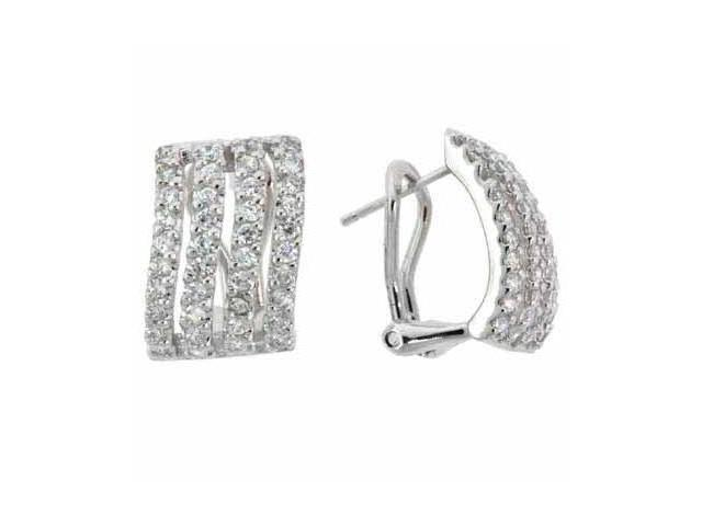Simulated Diamond CZ Sleek Rectangular Silver Omega Earrings