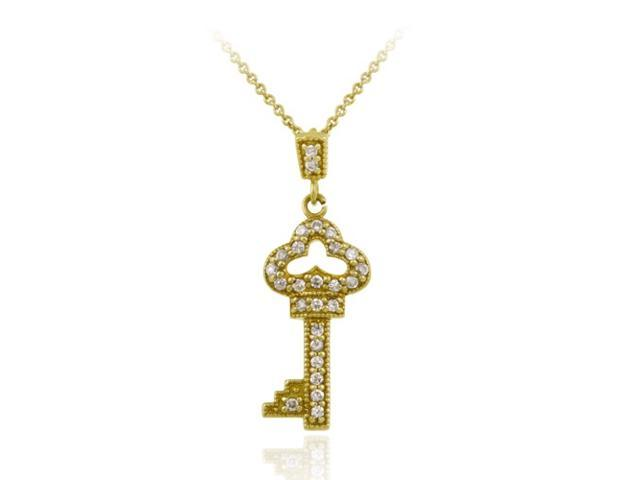 18K Gold over Sterling Silver Designer-Inspired CZ Key Pendant