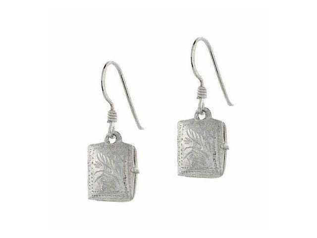 Sterling Silver Etched Vintage Design Diary Book Locket Earrings