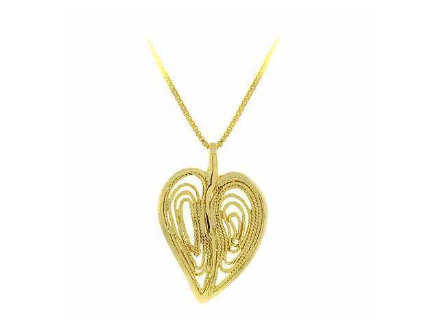 Vermeil (24k Gold over Sterling Silver) Filigree Modern Heart Pendant