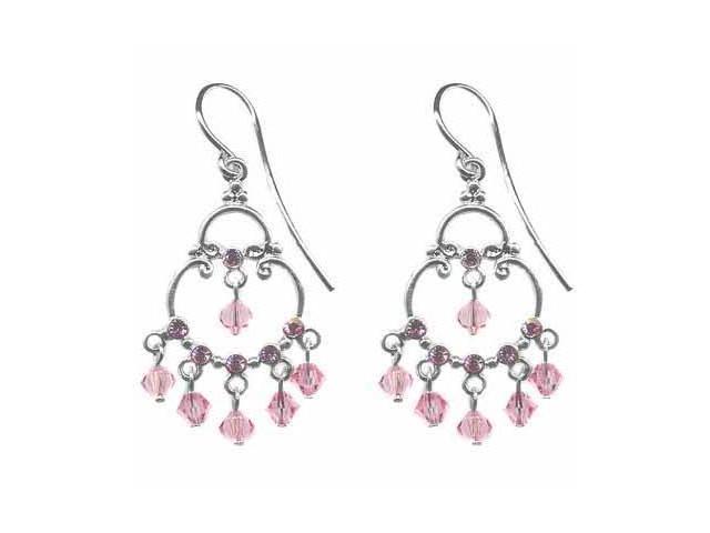 Sterling Silver Pink cz and Pink Genuine Swarovski  Crystal Chandelier Earrings