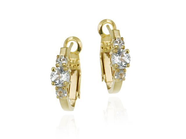 18K Gold over Sterling Silver Genuine Blue Topaz Three Stone Hoop Earrings