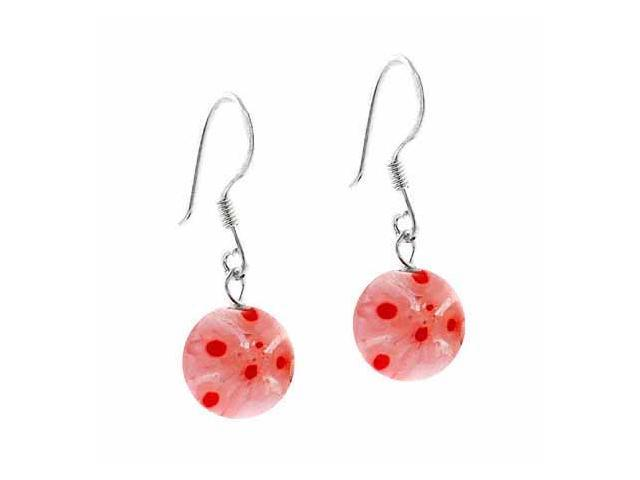 Sterling Silver Murano Glass White, Red, and Orange Beaded Millefiori Earrings