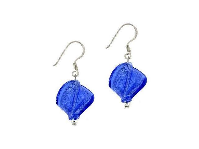 Sterling Silver .925 Royal Blue Glass Twisted Foil Bead Round Glitter Dangle Hoo
