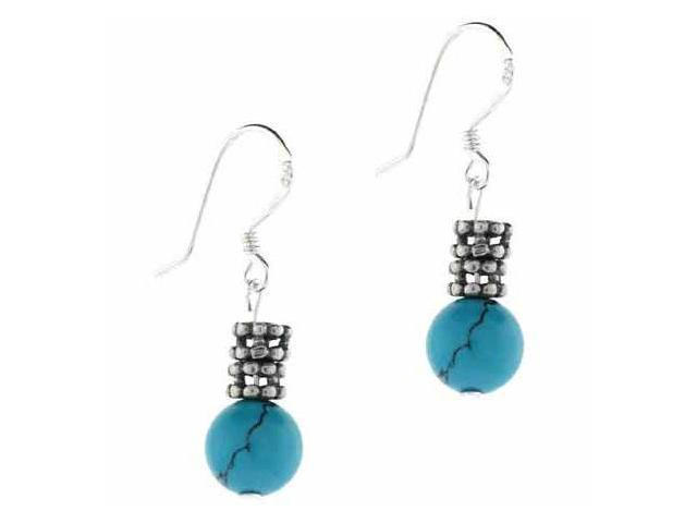 Trendy Silver Earrings Turquise Stone