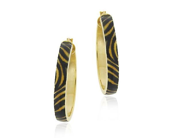 18k Gold Over Sterling Silver Enamel Tiger Print Hoop Earrings
