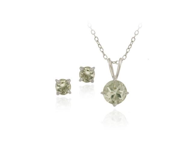 Sterling Silver 2ct TGW Green Amethyst Round Solitaire Pendant & Stud Earrings S