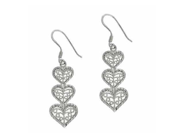 Sterling Silver Filigree Three Graduating Heart Earrings