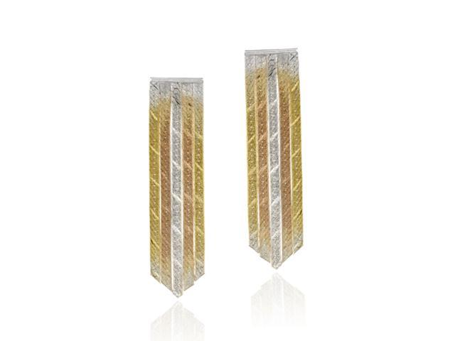 18K Gold over Sterling Silver Tri Color Five Strand Earrings