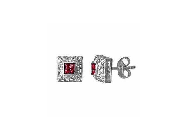 Ruby Red cz Designer Square and Simulated Diamond CZ border Post Silver Earrings