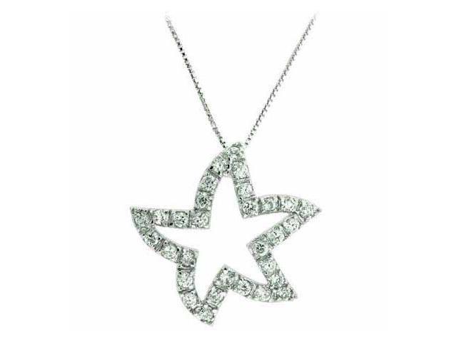 Sterling Silver Celebrity Simulated Diamond CZ Star Pendant