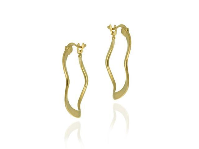 18K Gold over Sterling Silver 22mm Crinkle Hoop Earrings
