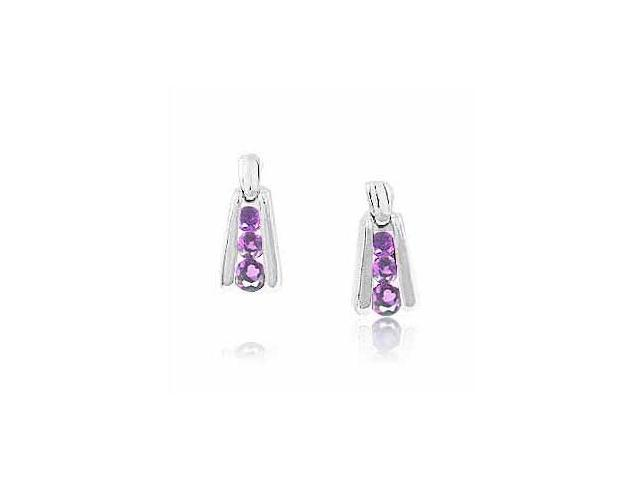 Sterling Silver Genuine Amethyst  Earrings