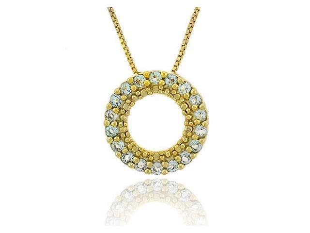 Vermeil (24k Gold over Sterling Silver) Genuine Blue Topaz Stone Prong Round Ete
