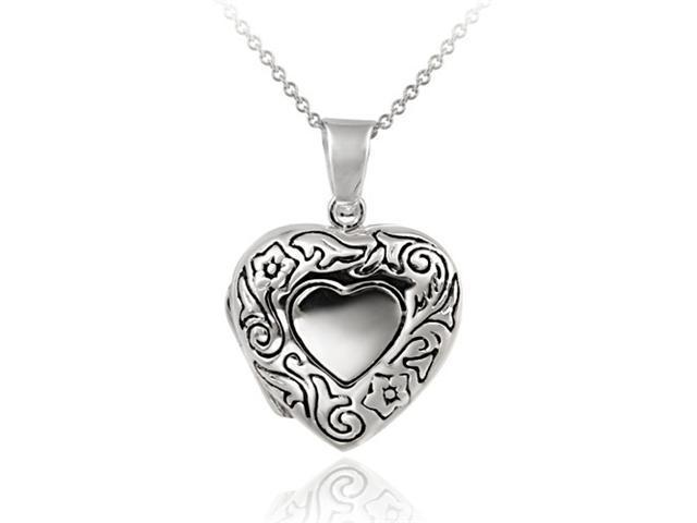 Sterling Silver Etched Flower Heart Locket Pendant