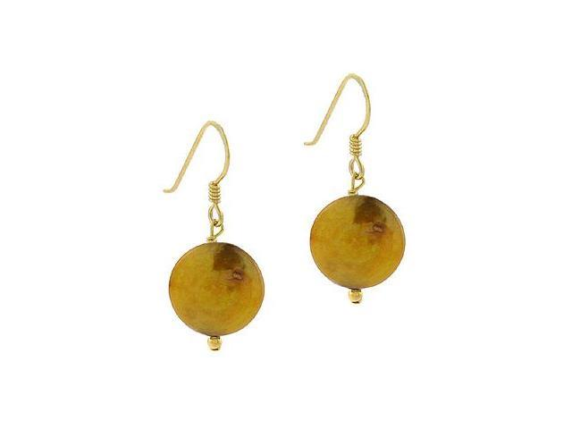 18K Gold over Sterling Silver Freshwater Cultured Golden Coin Pearl Dangle Earri
