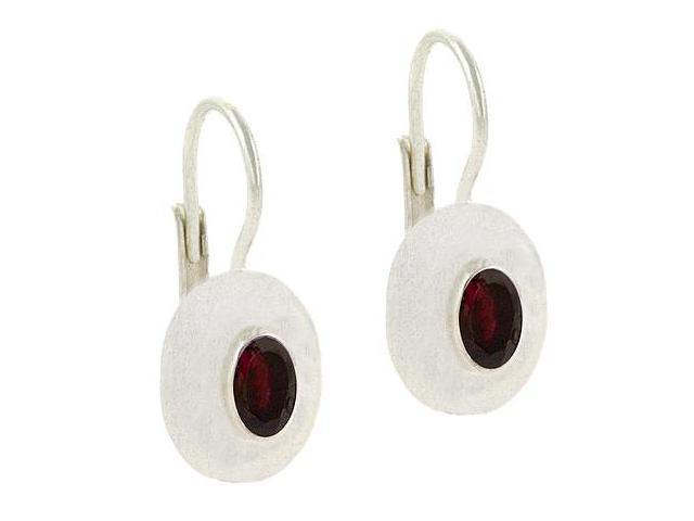 Bold Sterling Silver Genuine Garnet stone LeverBack Lever Back Earrings