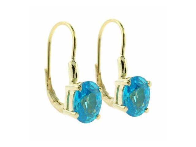 18K Gold over Sterling Silver Light Blue CZ Oval Leverback Earrings