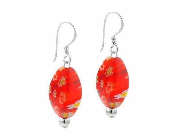Sterling Silver Orange Murano Glass Oval Bead Millefiori Earrings