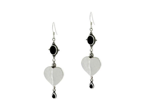 Sterling Silver Bali Bead Bezel Genuine Onyx Stone Heart Dangle Teardrop Oval Ea