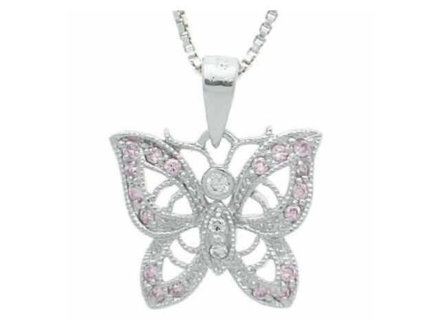 Sterling Silver Pink Cubic Zirconia and Simulated Diamond CZ Filigree Butterfly