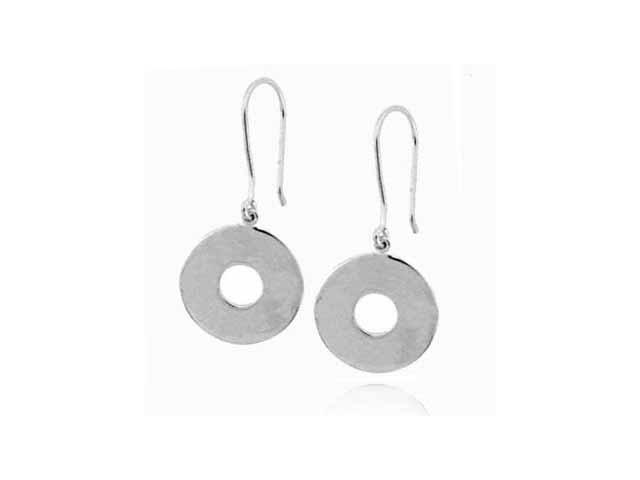 Platinum Silver Dangling Circle O Earrings