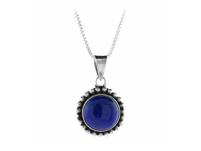 Sterling Silver Genuine Lapis Stone Bali Beaded Circle Pendant