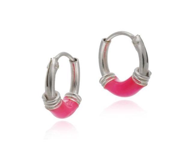 Tiny Sterling Silver Pink HOOPS Earrings NR!!