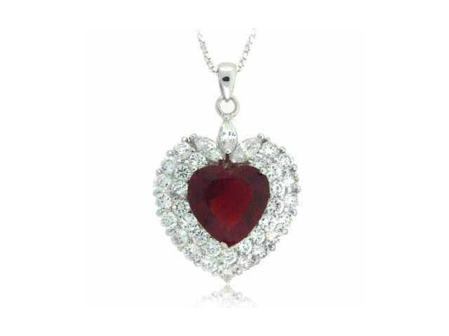 Sterling Silver Red & Clear CZ Heart Pendant