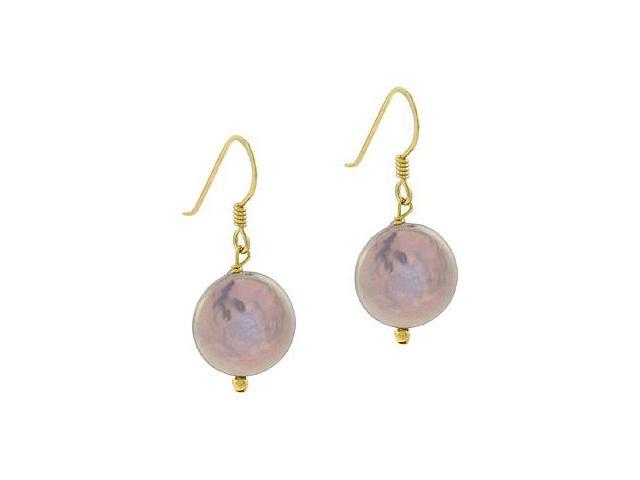 18K Gold over Sterling Silver Freshwater Cultured Gray Coin Pearl Dangle Earring