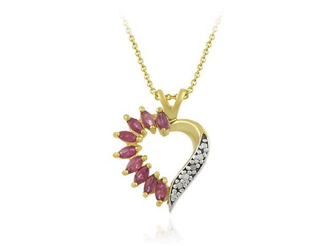 Vermeil (24kt Gold over Silver) Genuine Ruby and Genuine Diamond Accent Heart Pe