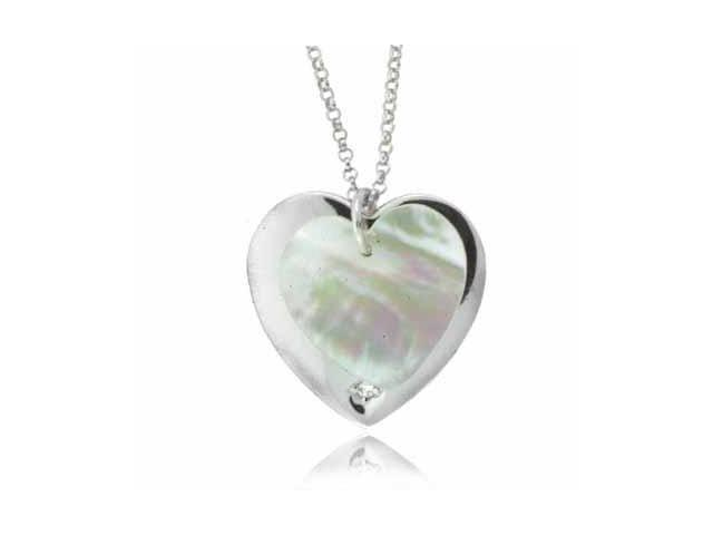 Double Heart Sterling Silver Genuine Mother of Pearl and Simulated Diamond CZ Pe