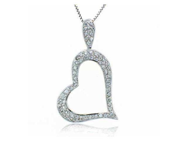 Sterling Silver Pave Simulated Diamond CZ Heart Pendant
