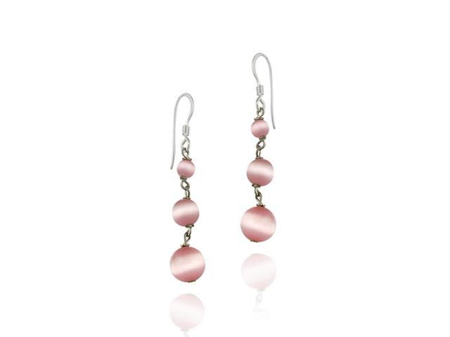 Pink Cats Eye and Sterling Silver Dangling Bead Earrings
