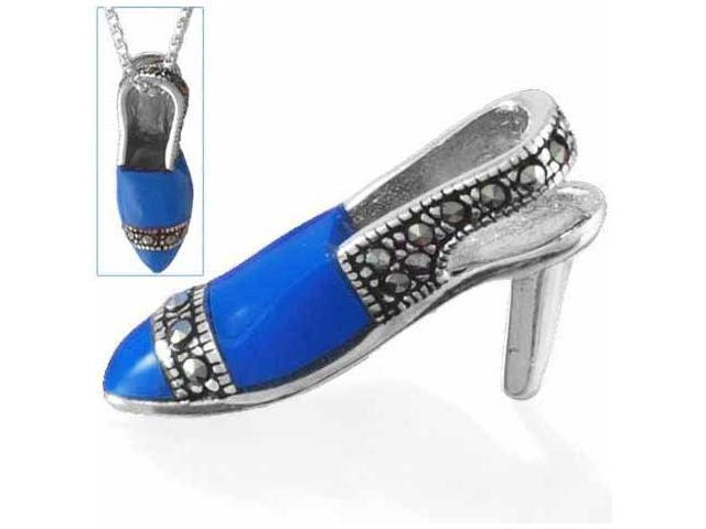 Sterling Silver Fancy Enamel and  Marcasite Shoe Pendant